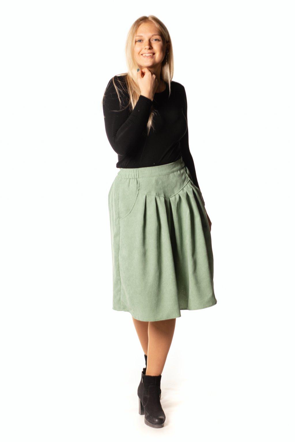 SVĚTLE ZELENÁ sukně s klínem
