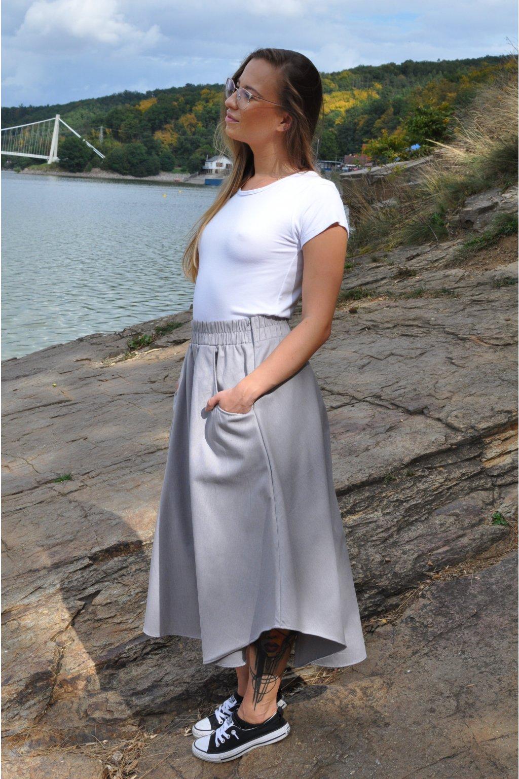 ŠEDÁ asymetrická sukně (imitace rifloviny)