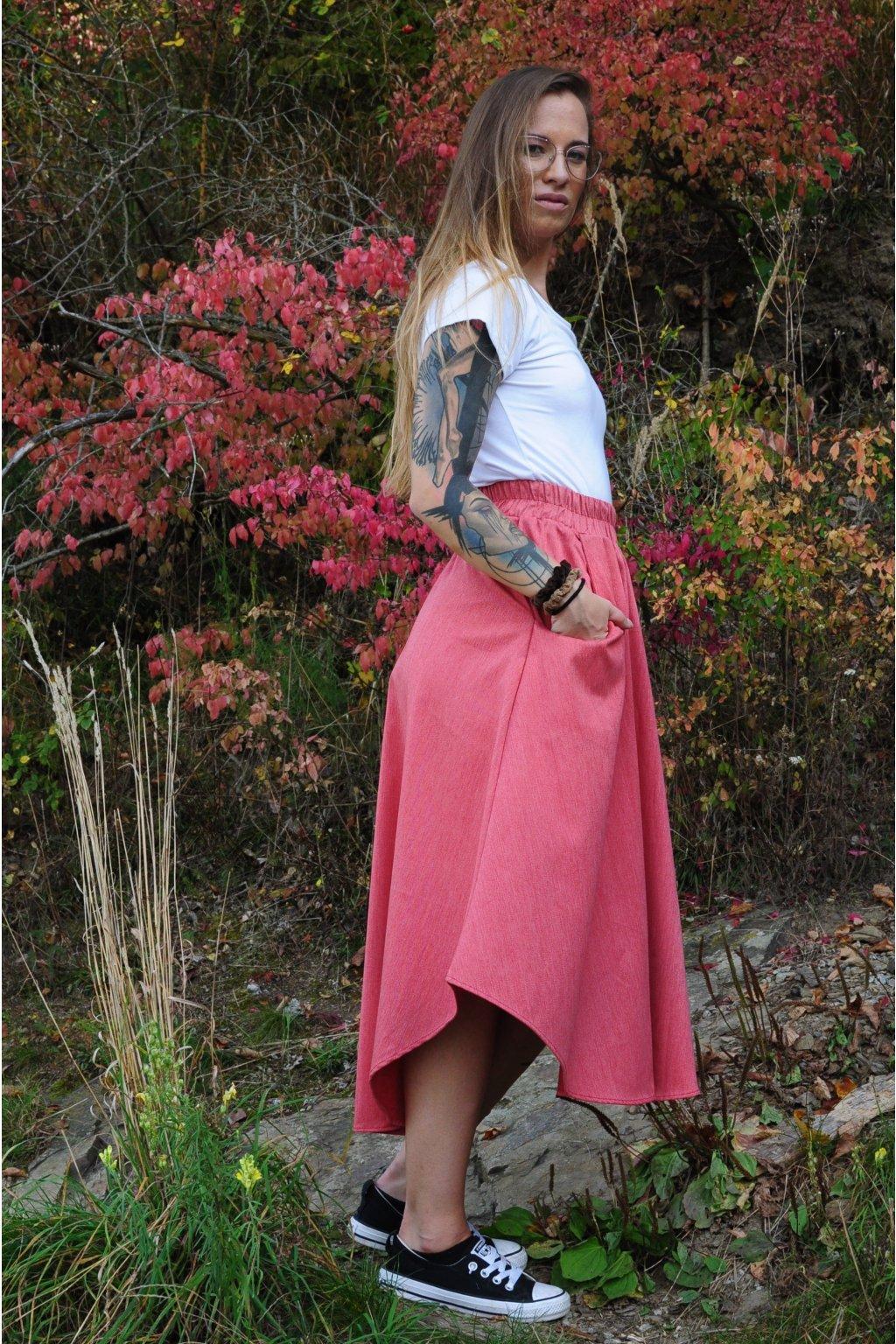 ČERVENÁ asymetrická sukně (imitace rifloviny)
