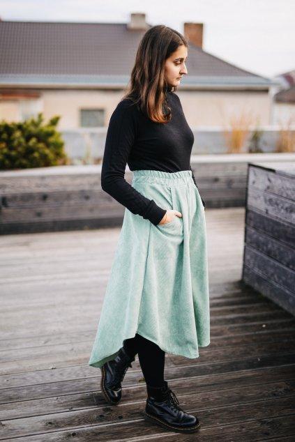 ZELENÁ asymetrická sukně (manšestr klasický)