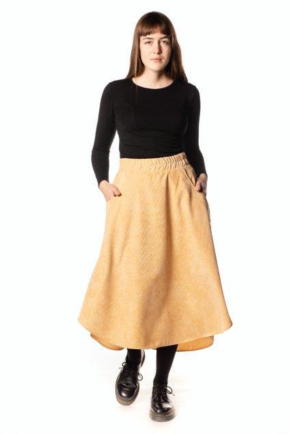 ŽLUTO-BÉŽOVÁ asymetrická sukně (manšestr klasický)