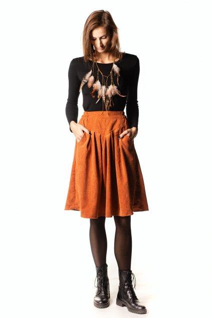 ORANŽOVÁ sukně s klínem
