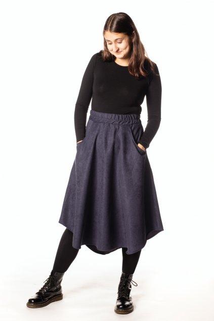 TMAVĚ MODRÁ asymetrická sukně (manšestr jemný)