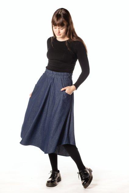 TMAVĚ MODRÁ asymetrická riflová sukně