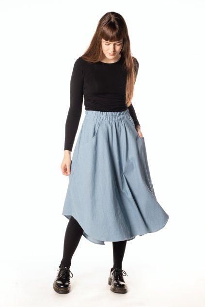 SVĚTLE MODRÁ asymetrická riflová sukně
