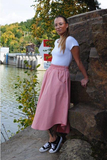 RŮŽOVÁ asymetrická sukně (imitace rifloviny)