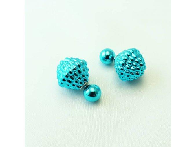 BNC0361A nausnice vroubkovane perly tyrkysove