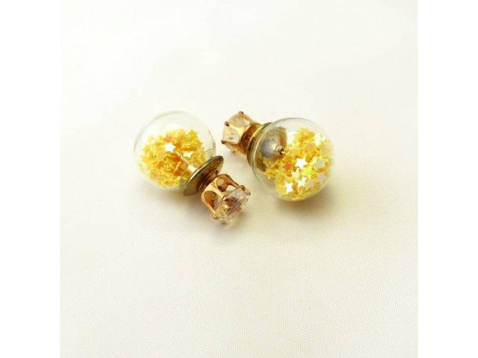 BNC0364A nausnice pecky perly hvezdicky zlute
