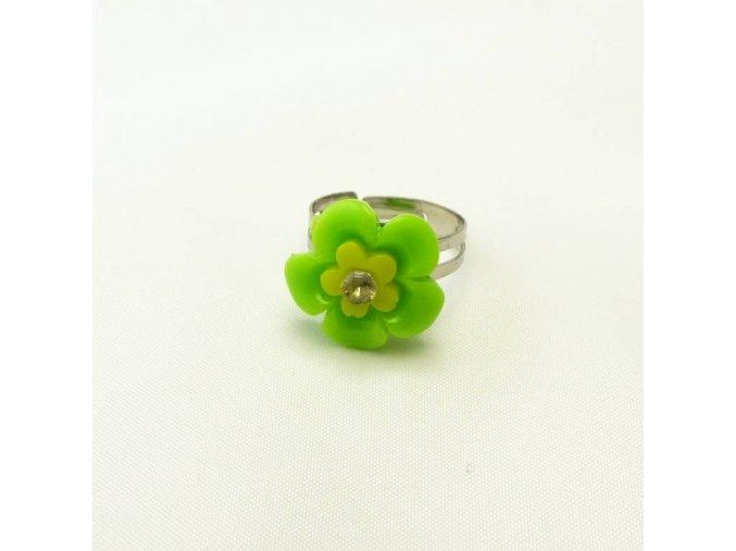BPD0199 detsky prsten kyticka zelena