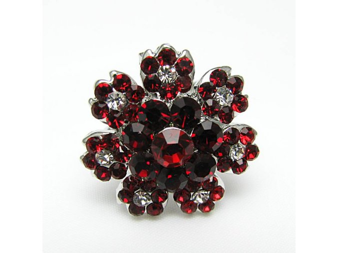 BPK0042A kyticka prsten s kaminky cerveny