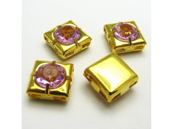 KMK0018B zlaty ctverecek s fialovym kaminkem