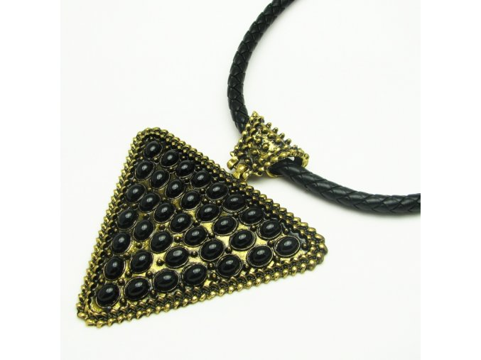 BHO0024 nahrdelnik zlaty trojuhelnik s kaminky