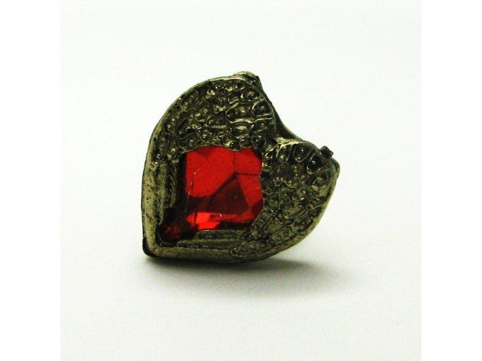 BPK0105 mosazny prsten srdicko s cervenym kamenem
