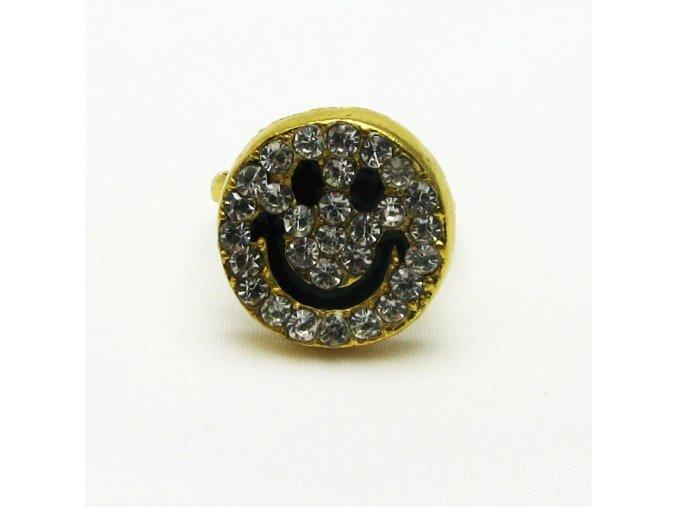 BPK0121 zlaty prsten smajlik s kaminky