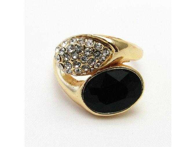 BPK0128 zlaty prsten s cernym kamenem