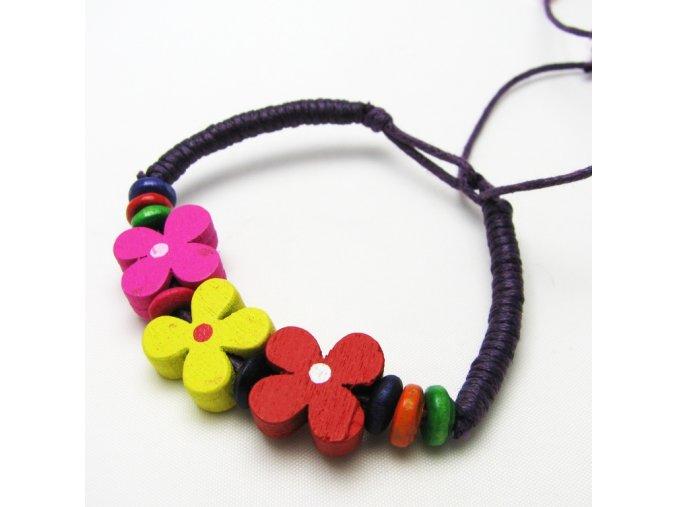 BRO0051A detsky naramek s kytickami fialovy
