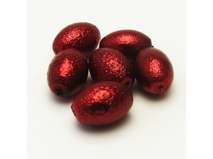 RSK0031B ovalne vroubkovane perly cervene