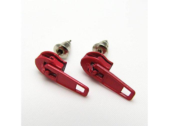 BNC0032H nausnice pecky zip cerveny
