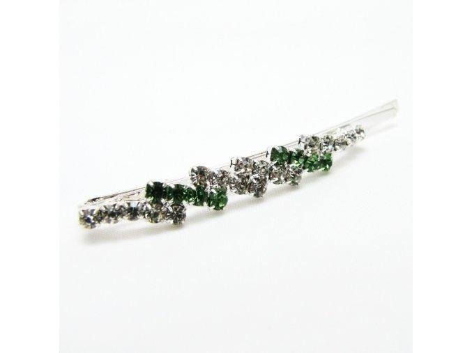 BVS0033B strasova sponka zelena