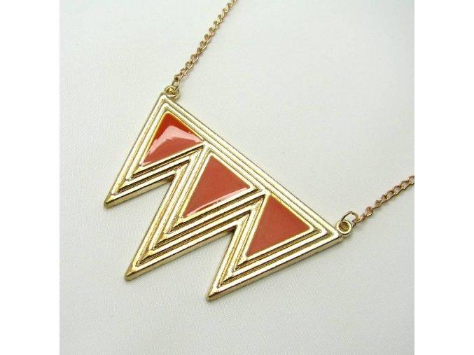 BHR0095 zlaty nahrdelnik trojuhelniky oranzove