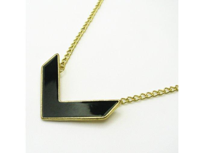 BHR0147 zlaty nahrdelnik s cernym priveskem