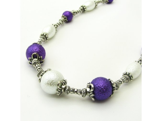 BHK0013 nahrdelnik fialovobile perly a tibetske stribro