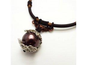 BHN0087 privesek na snurce perla