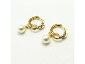 BNU0010A nausnice s kaminky a perlickou zlate
