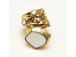 BPV0031B zlaty prsten s bilym smaltem