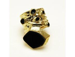 BPV0031D zlaty prsten s cernym smaltem