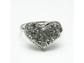 BPK0067A prsten srdicko s kaminky stribrne