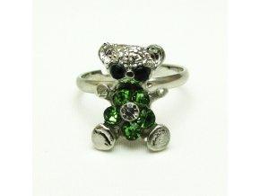 BPK0088A prstynek medvídek se zelenymi kaminky