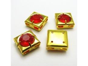 KMK0018A zlaty ctverecek s cervenym kaminkem