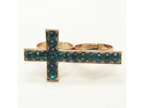 BPK0107C zlaty prsten kriz s tyrkysovymi kaminky