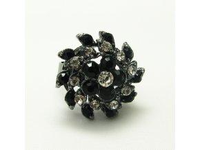 BPK0117B antracitovy prsten s cernobilymi kaminky