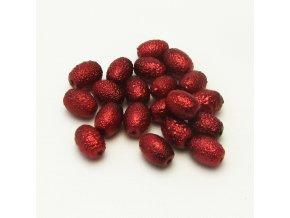 RSK0029B ovalne vroubkovane perly cervene