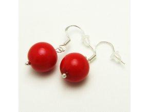 BNP0040 nausnice plastove perly cervene