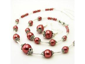 BSK0016 staroruzove perly a tibetske stribro