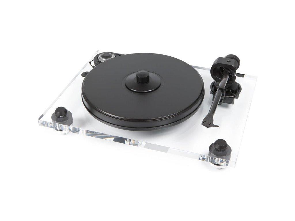 Kvalitní gramofon s akrylátovým soklem na třech tlumených (sorbotanových) výškově nastavitelných podstavách Pro-Ject 2-Xperience DC Acryl 2M-Silver