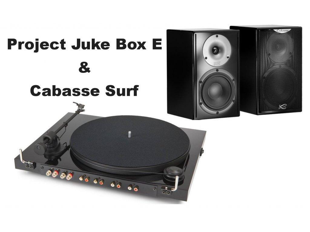 Kvalitní gramofon se zesilovačem a kvalitními dvoupásmovými reprosoustavy Pro-ject Juke Box E+ Cabasse Surf+ kabeláž