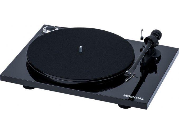 Kvalitní gramofon s tichým motorem, MDF talířem a MM předzesilovačem Pro-Ject Essential III Phono + OM10