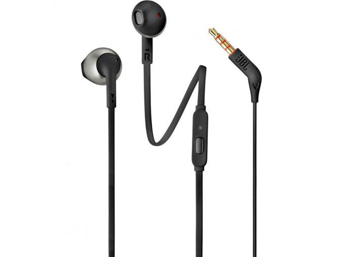 Kvalitníin-ear sluchátka s Pure Bass zvukem, krytem s kovovými prvky a dynamickým měničem JBL T205