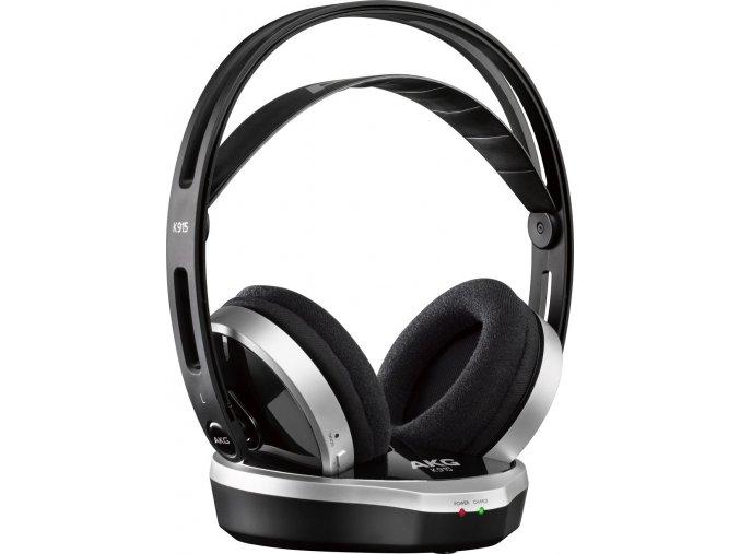 Kvalitní digitální bezdrátová dynamická sluchátka AKG K915 v černé barvě