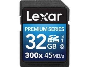 Kvalitní SDHC paměťová karta 32GB s rychlostí až 300x (45 Mb/s) Lexar SDHC 32GB UHS-I 300x Class 10 Premium Series