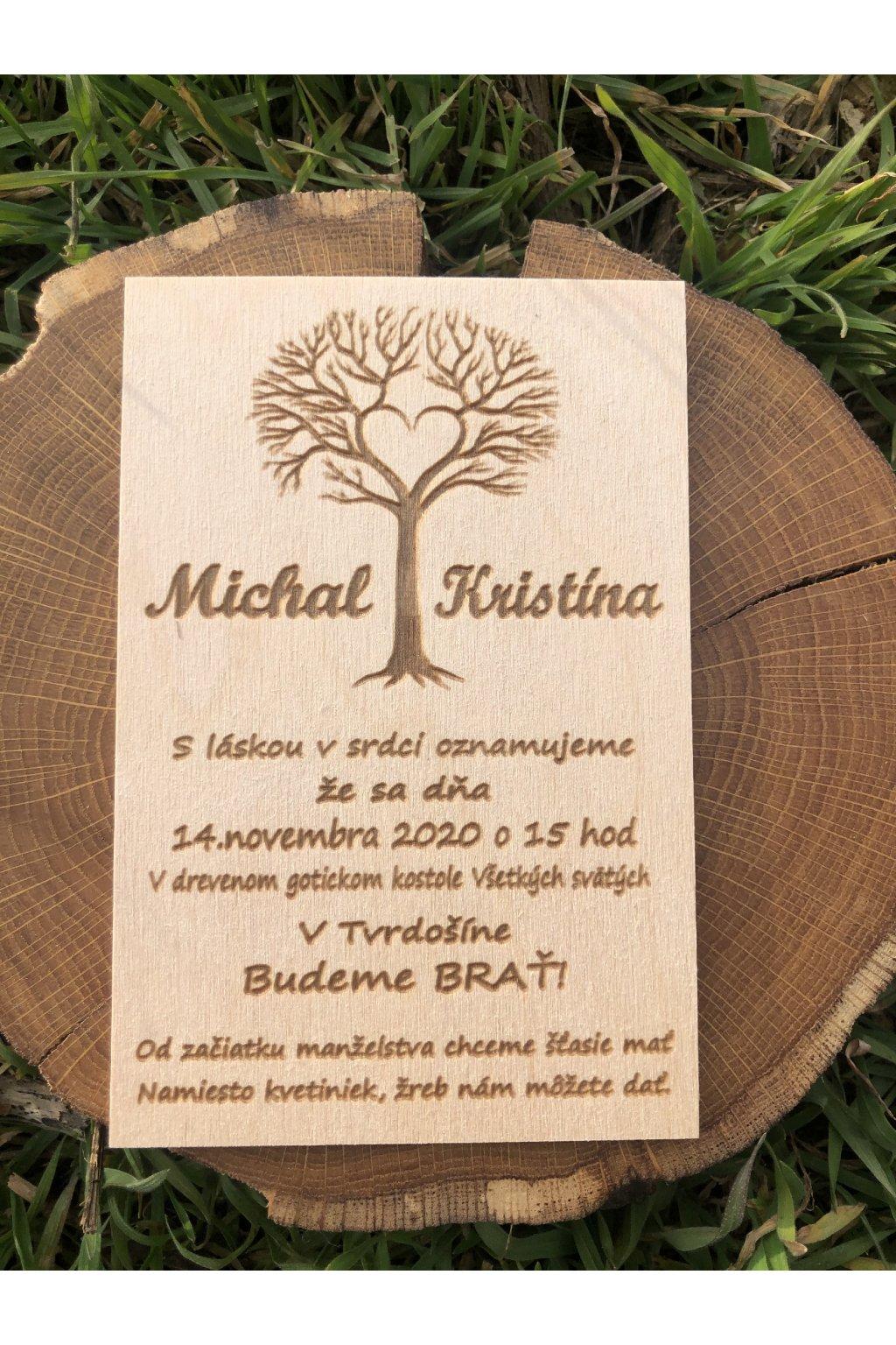 Drevené svadobné oznámenie