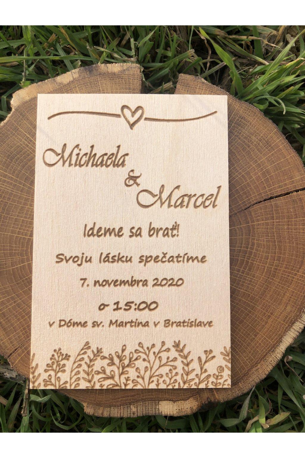 Drevené svadobné oznámenie 1