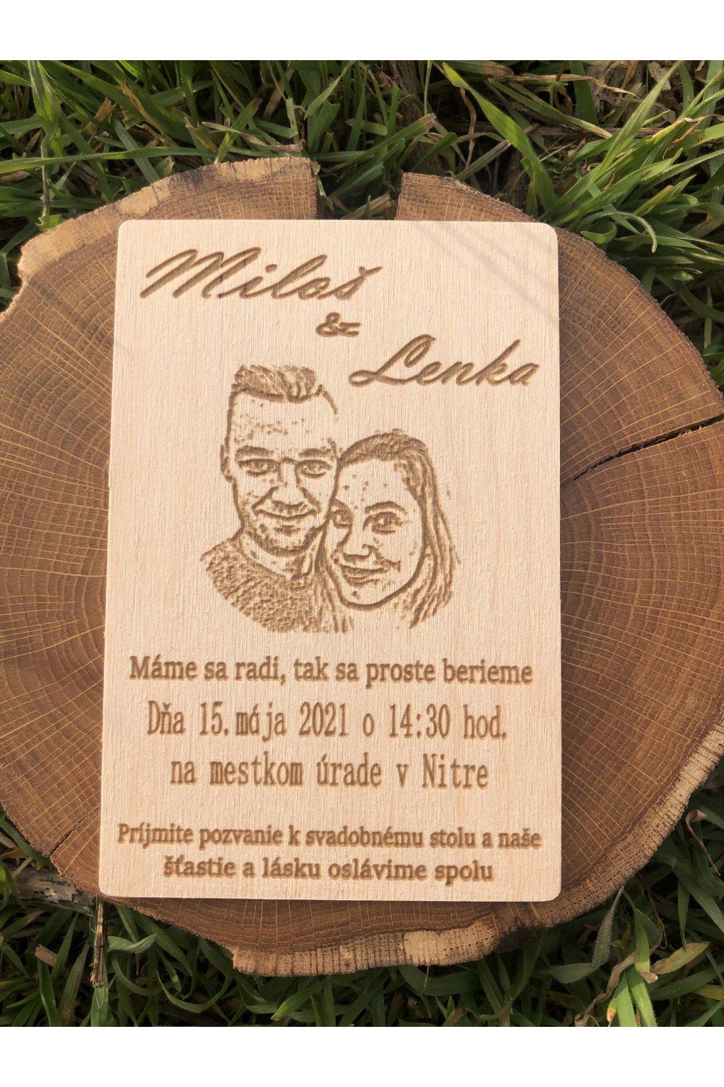 Drevená svadobná pozvánka