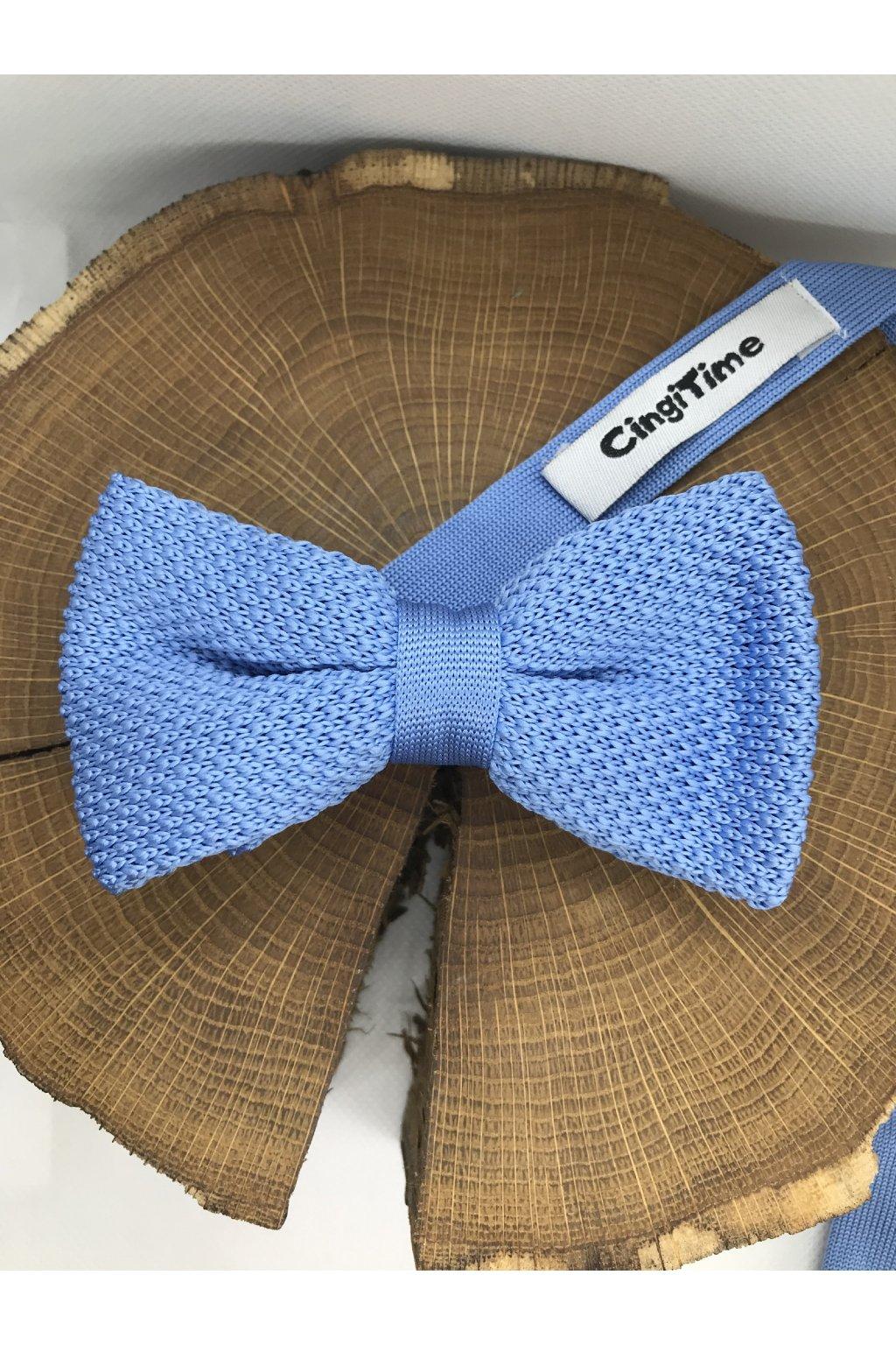 Pánsky bledo-modrý bavlnený motýlik
