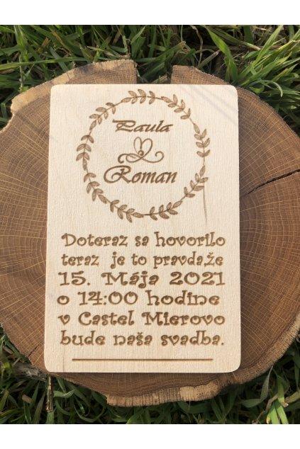 Drevená svadobná ohláška