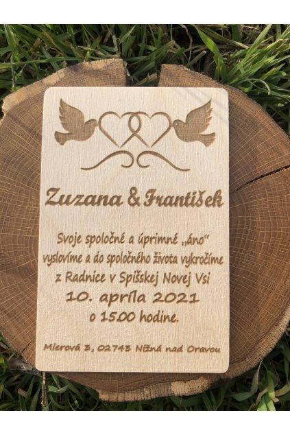 Svadobná drevené pozvánka